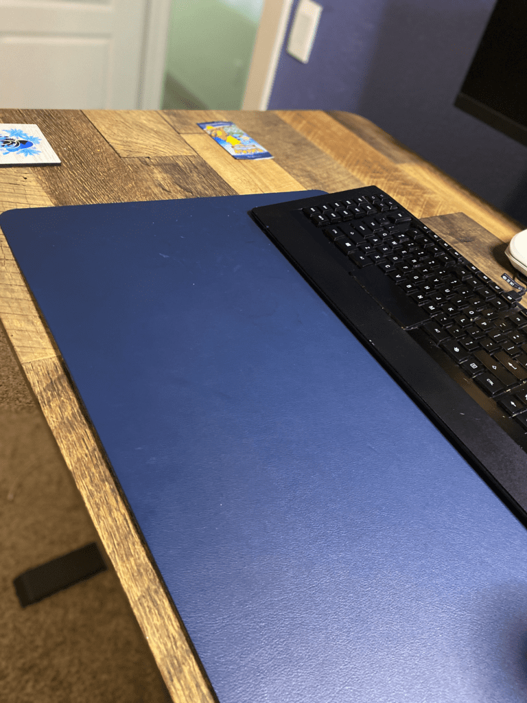 remote work from home office desk essential Leather Desk Pad Protector,Mouse Pad,Office Desk Mat,Non-Slip PU Leather Desk Blotter,Laptop Desk Pad,Waterproof Desk Writing Pad for Office and Home(Dark Blue,31.5