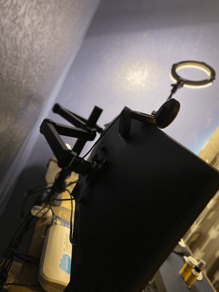 remote work from home office desk essential  HUANUO Dual Monitor Stand - Adjustable Spring Monitor Desk Mount Swivel Vesa Bracket with C Clamp, Grommet Mounting Base for 17 to 27 Inch Computer Screens - Each Arm Holds 4.4 to 14.3lbs. Pictured are BenQ Monitors